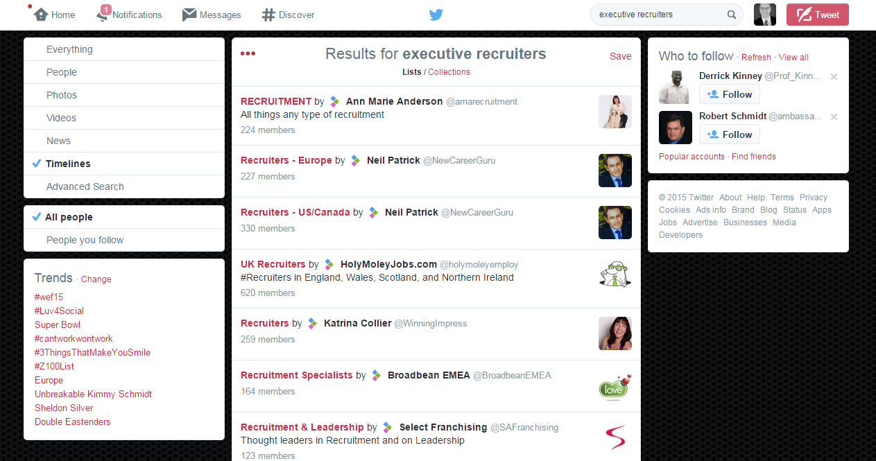 'Executive recruiters' Twitter search: timelines example by @ExecConnexions