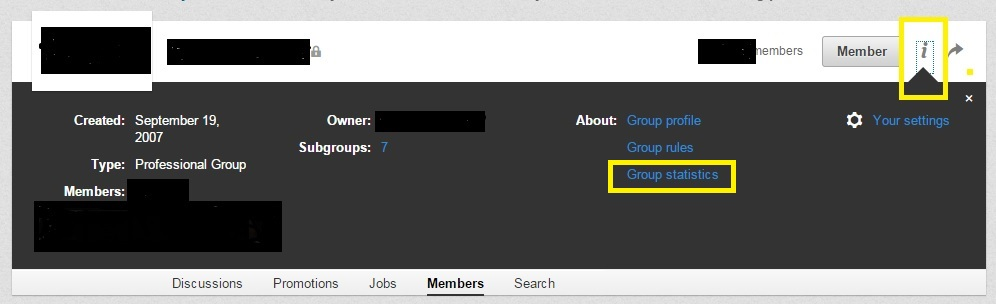 LinkedIn group statistics: information settings
